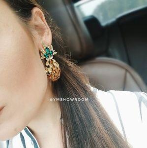 Rhinestone pineapple earrings